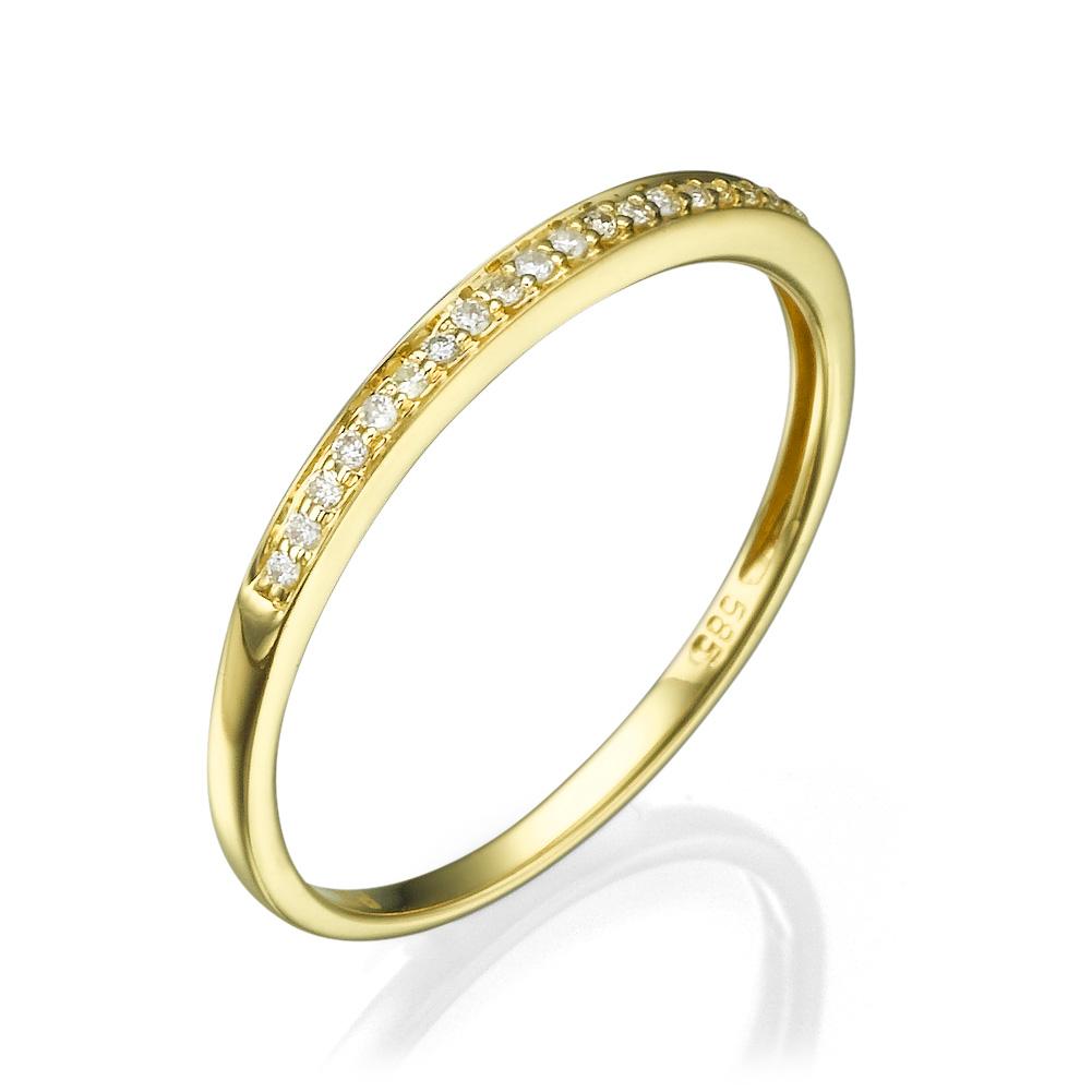 """טבעת """"Basic"""" שיבוץ חצי יהלומים - זהב 14K"""