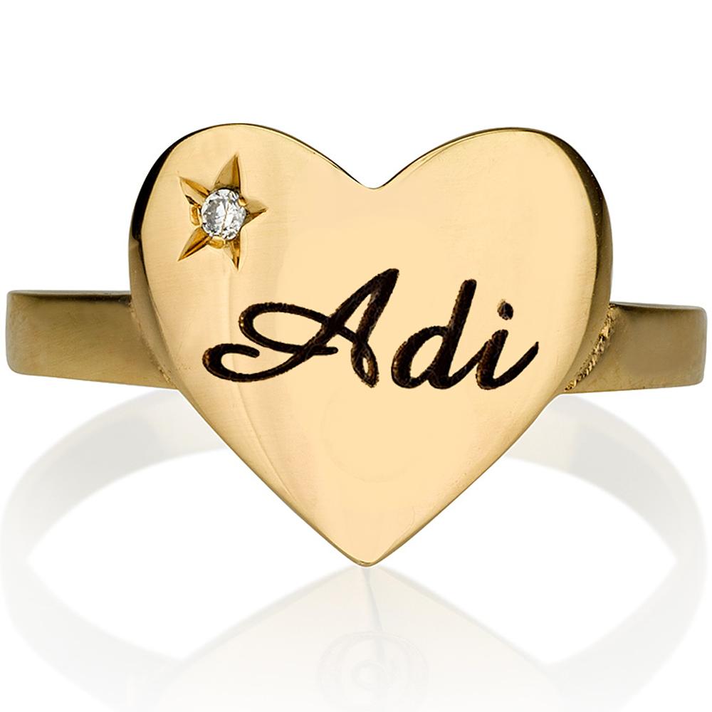 טבעת חריטה Gold Heart שיבוץ יהלום חריטת כוכב - זהב 14K