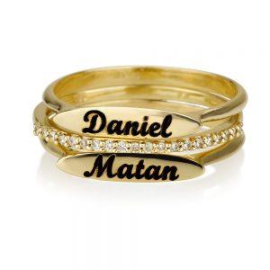 """זוג טבעות חריטה- פלטה אליפטית + טבעת יהלומים """"Second""""  זהב 14K"""