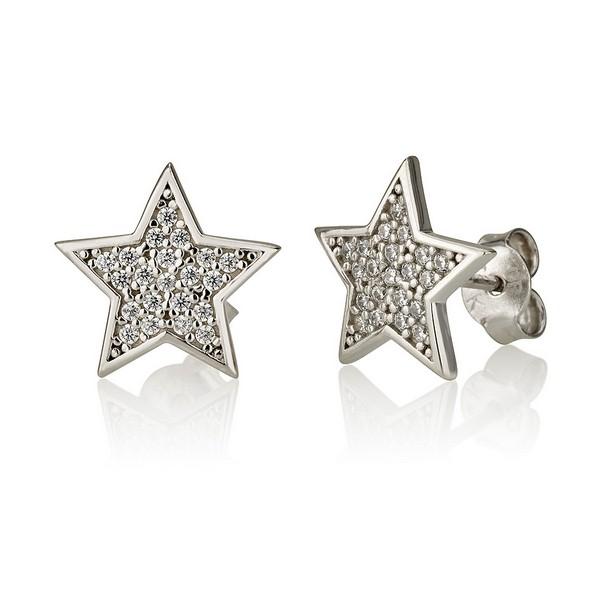 עגילי כוכבים סטאר דאסט - זהב לבן 14K