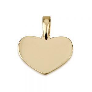 תליון לב קלאסי לחריטה - זהב 14K