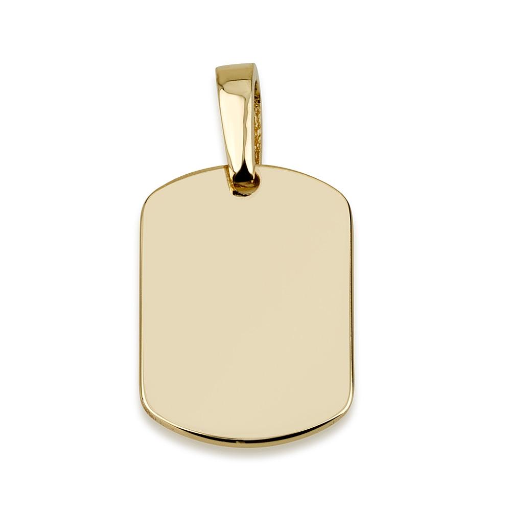 תליון דיסקית לחריטה - זהב 14K