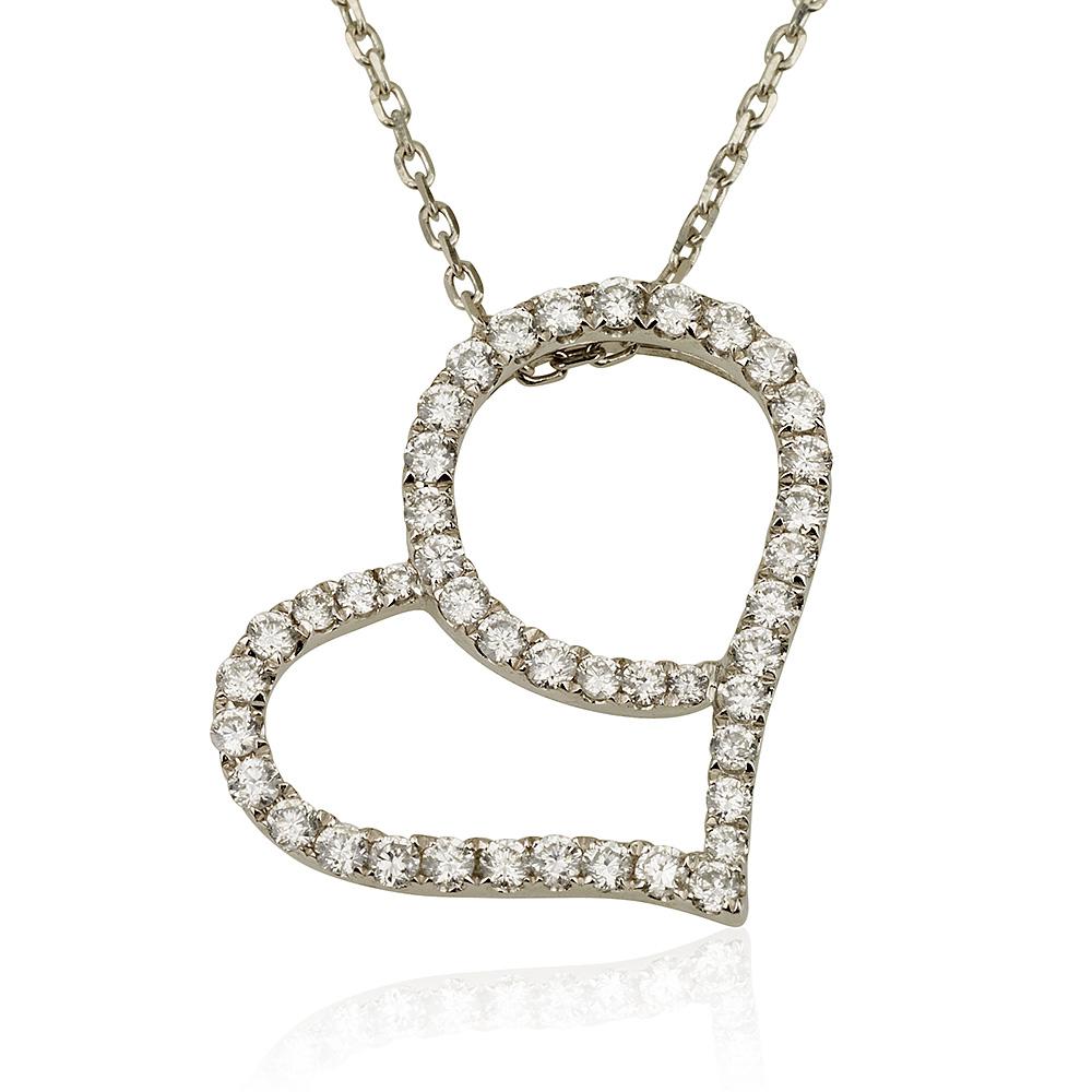 שרשרת יהלומים Love Story - זהב לבן 9K