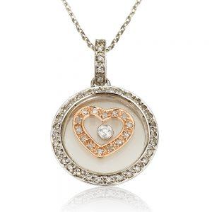 שרשרת יהלומים Rose Heart Vintage - זהב 9K