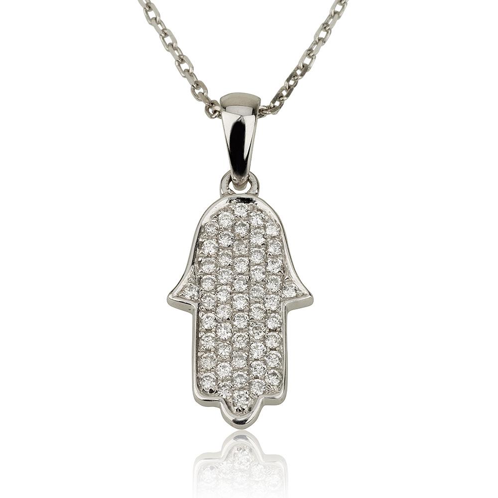 שרשרת יהלומים Diamond big Hamsa - זהב 14K