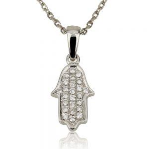 שרשרת יהלומים Diamond mini Hamsa - זהב 9K