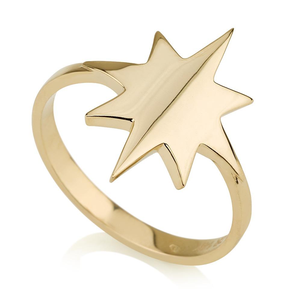 טבעת זהב שושנת הרוחות - זהב צהוב 14K
