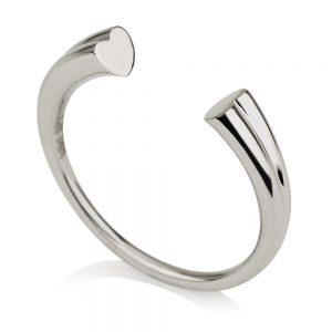 טבעת חצי לבבות נושקים- זהב לבן 14K
