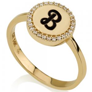 טבעת חריטה חותם עגול - זהב 14K