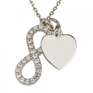 שרשרת חריטה אינפיניטי & Heart - זהב 14K
