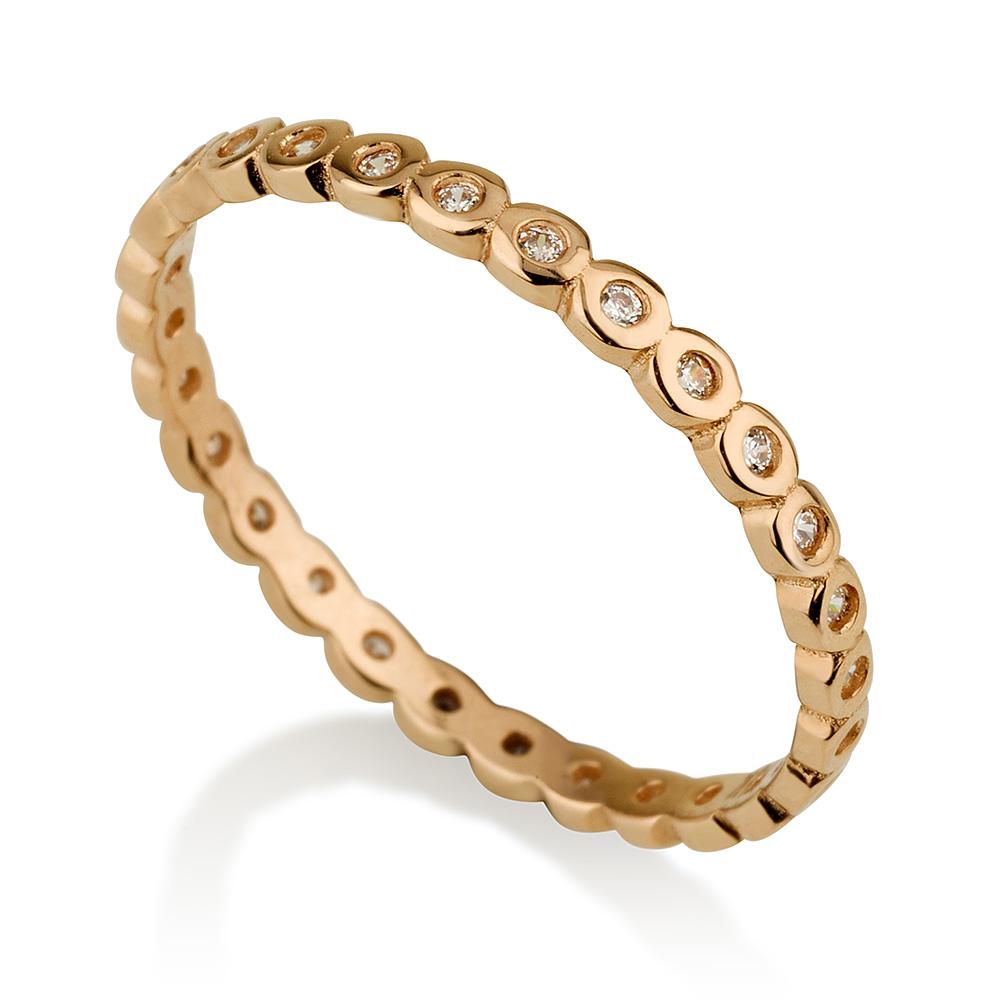 טבעת בייסיק סירקלס- זהב ורוד 14K
