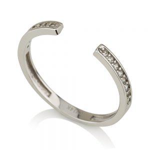 טבעת חצי שיבוץ בייסיק- זהב לבן 14K