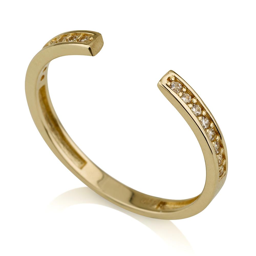 טבעת חצי שיבוץ בייסיק- זהב צהוב 14K