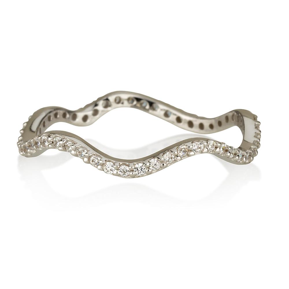 טבעת בייסיק Wave- זהב לבן 14K