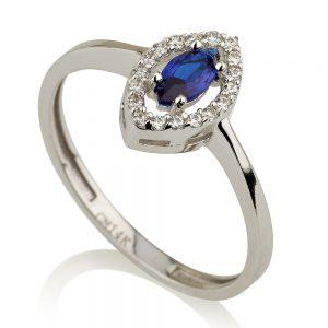 טבעת לואיז רויאל- זהב לבן 14K