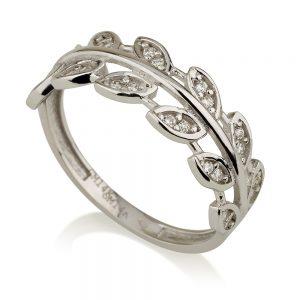 טבעת נוצה טרופית- זהב לבן 14K