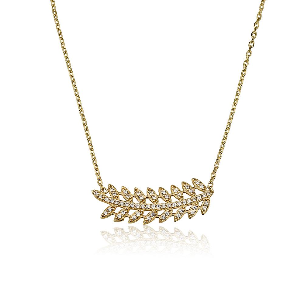 שרשרת נוצה טרופית- זהב צהוב 14K- שרשראות זהב - תכשיטי זהב מעוצבים - תכשיטי זהב משובצים