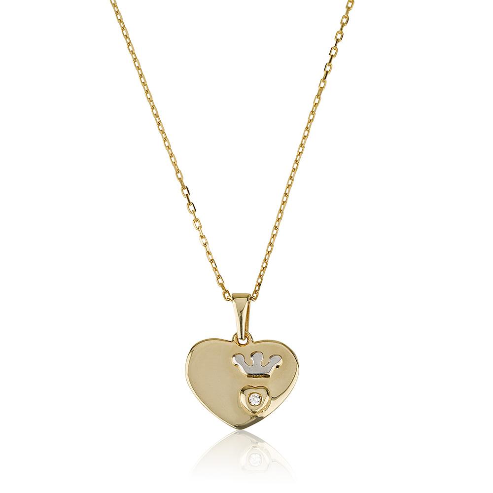 שרשרת טייני לאב קראון זהב 14K - תכשיטי זהב מעוצבים שרשרת לב - שרשרת כתר