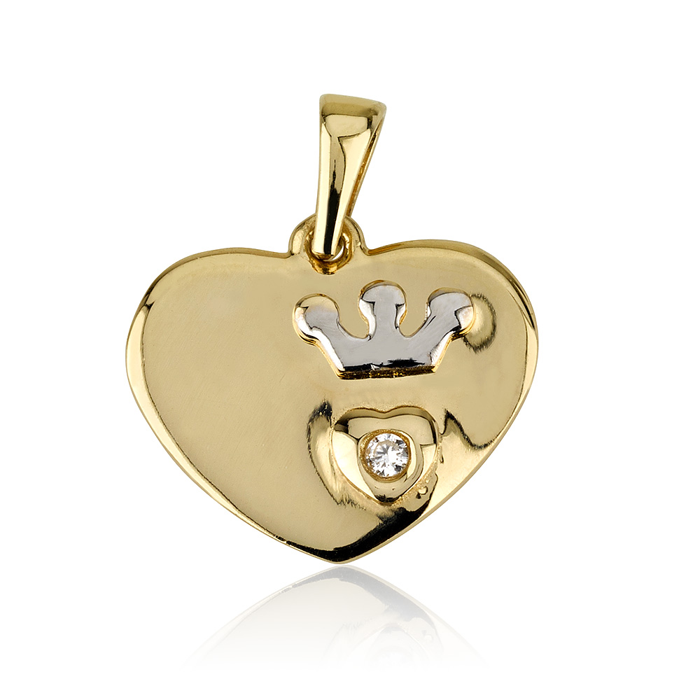 תליון Tiny Heart קראון - זהב 14K