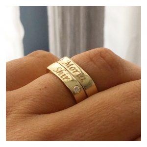 טבעת חריטה רחבה - זהב 14K