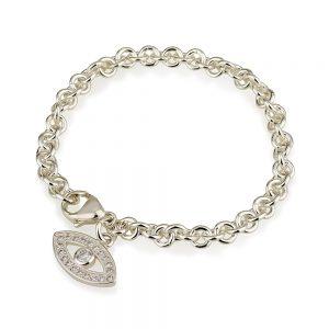 צמיד חוליות מישל + תליון עין משובץ - Silver 925