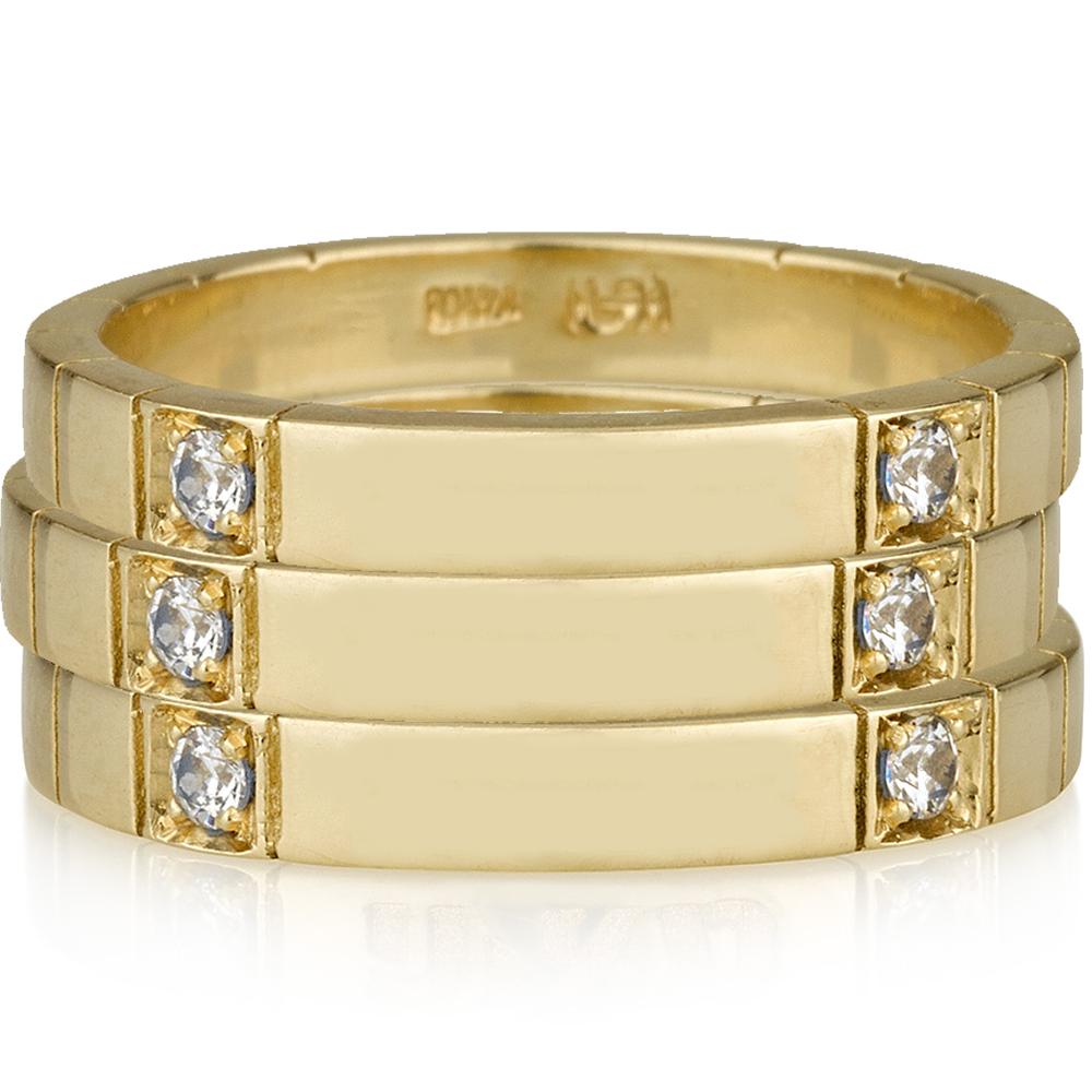שלישית טבעות חריטת שם דגם שיבוץ כפול יהלומים - זהב 14K