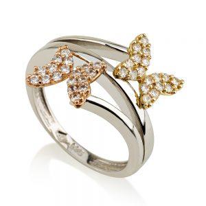 טבעת פרפרים מיקס גולד - זהב לבן 14K