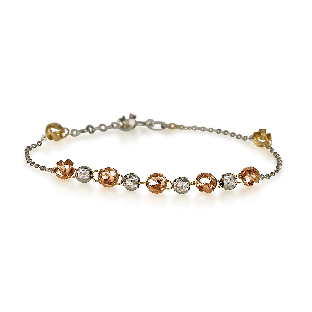 צמיד חרוזים חלולים מיקס גולד – זהב לבן 14K - תכשיטי זהב מעוצבים - צמידי זהב