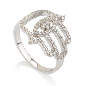 טבעת חמסה Evil Eye – זהב לבן