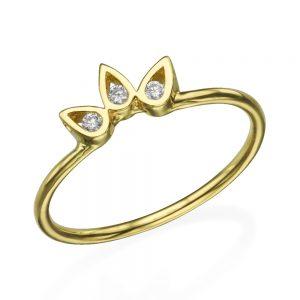 """טבעת יהלומים """"כתר"""" - זהב 14K"""