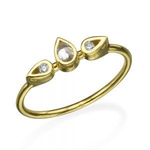 טבעת לוסי אמצעית טיפה - זהב 14K