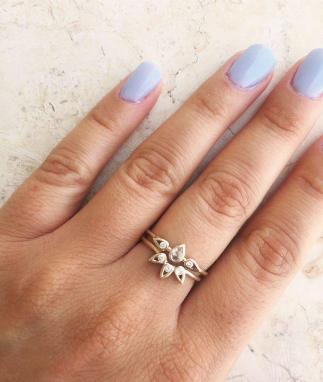 טבעת לוסי + טבעת לוסי אמצעית טיפה - זהב 14K