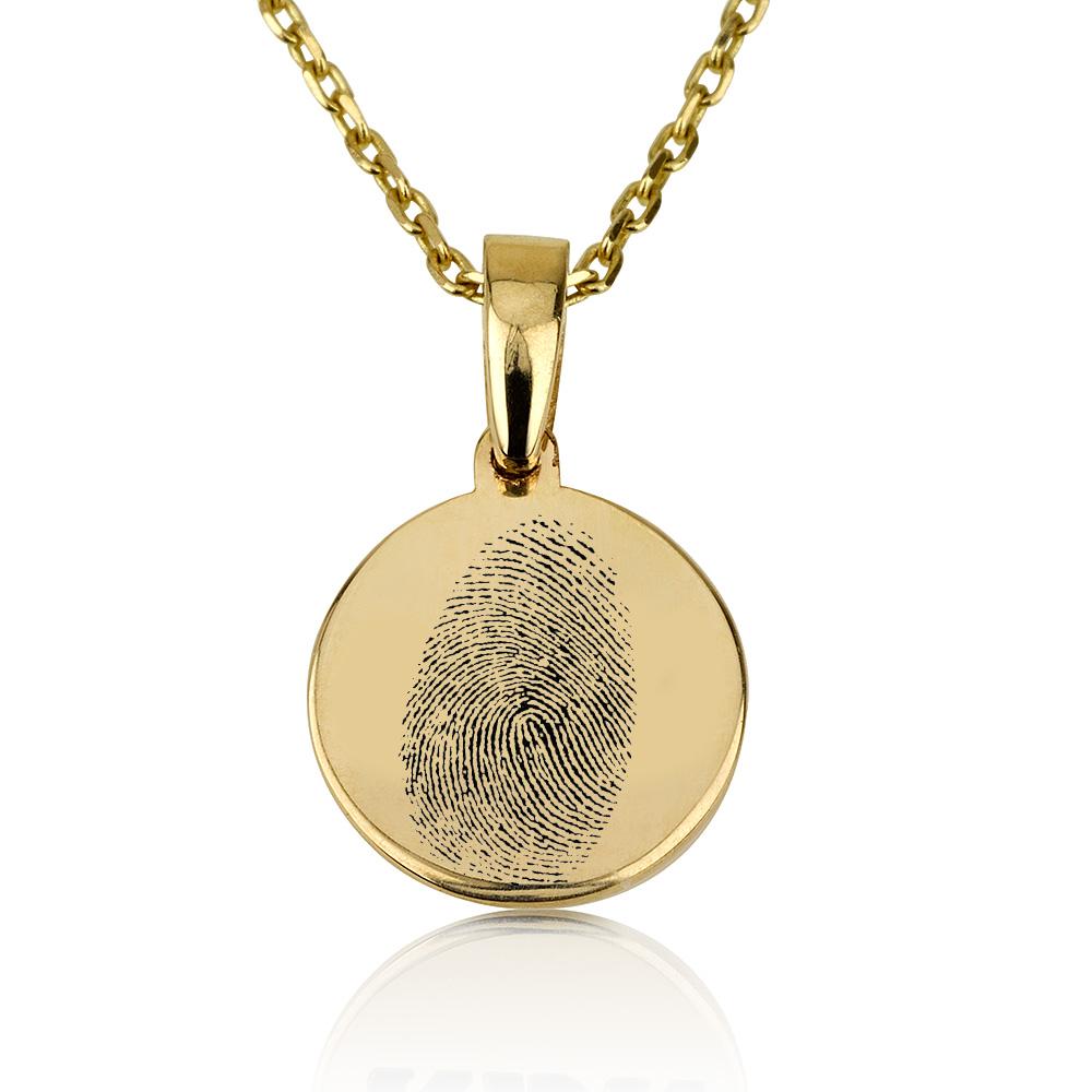 שרשרת חריטה מטבע קטן עם טביעת אצבע - זהב 14K