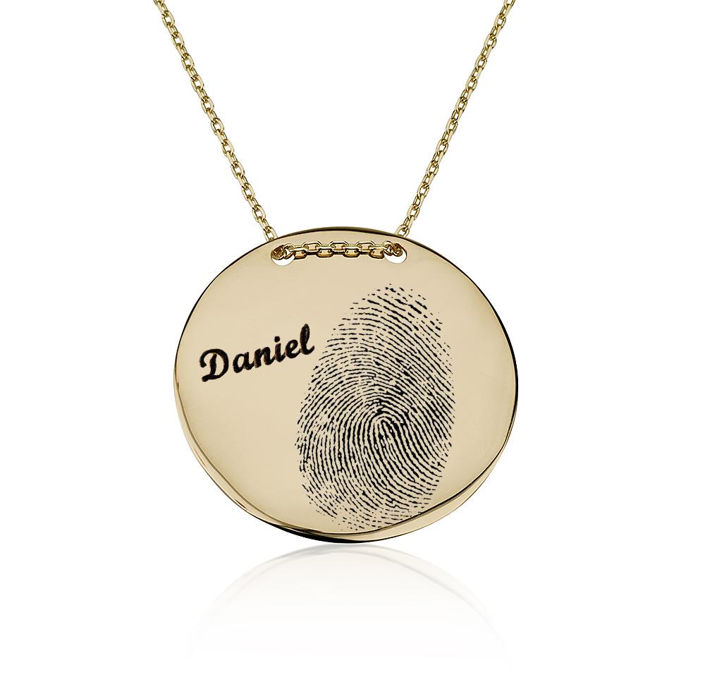 שרשרת חריטה מטבע עם טביעת אצבע - זהב 14K