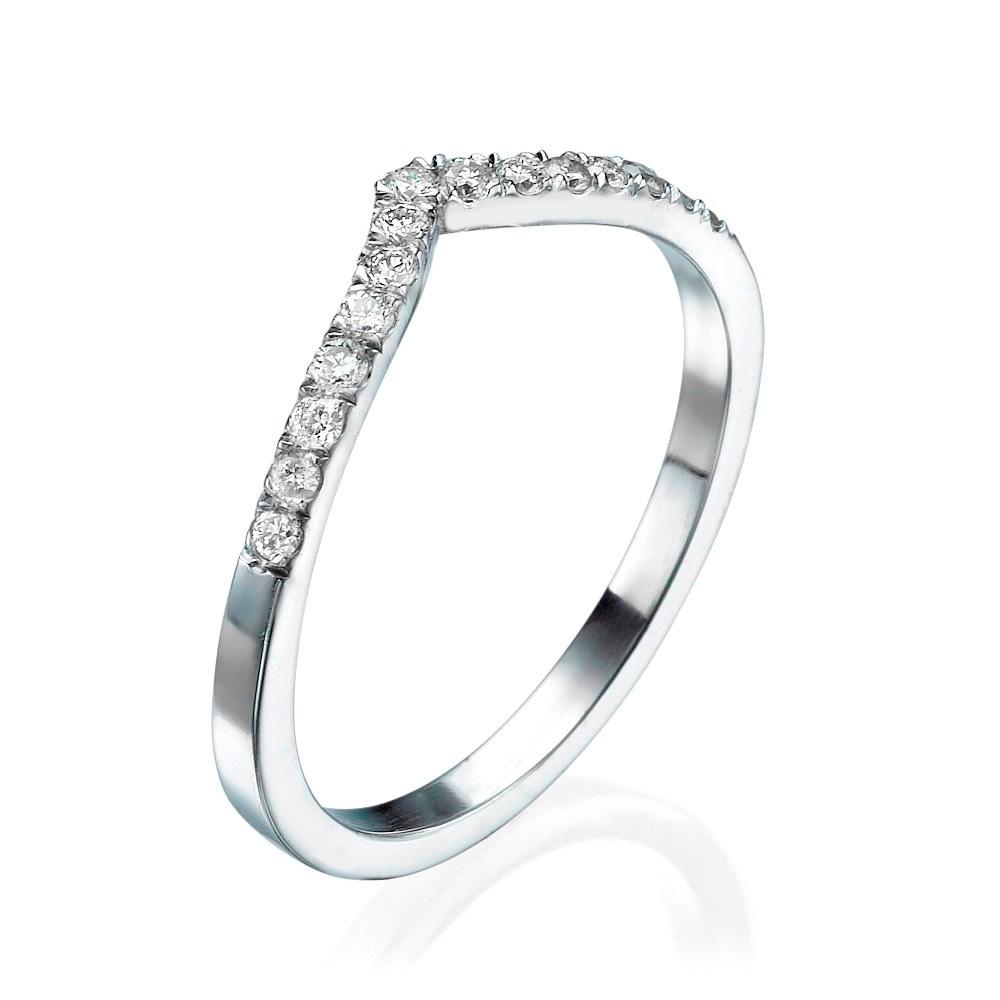 טבעת יהלומים V- זהב 14K