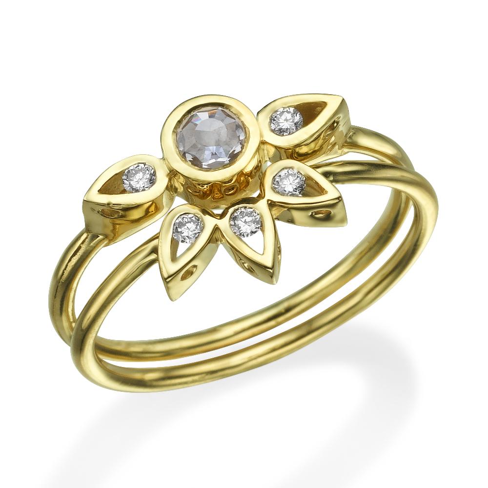 טבעת לוסי + טבעת לוסי אמצעית עגולה - זהב 14K