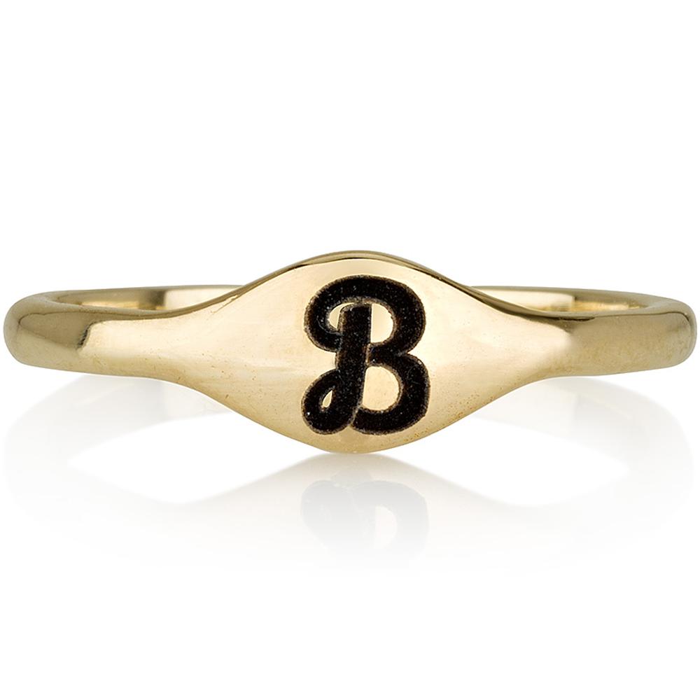 טבעת חריטה חותם וינטג' -  זהב 14K