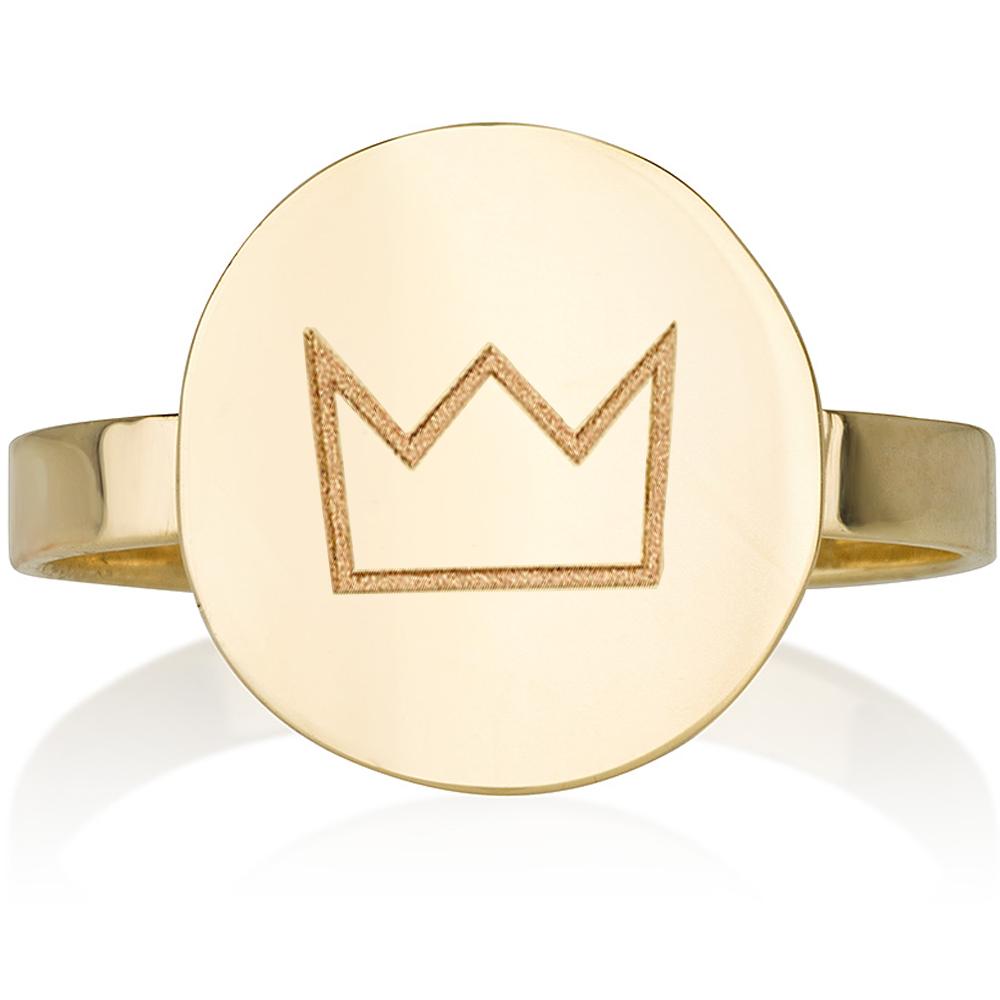 טבעת חריטה חותם מעוגל - זהב 14K