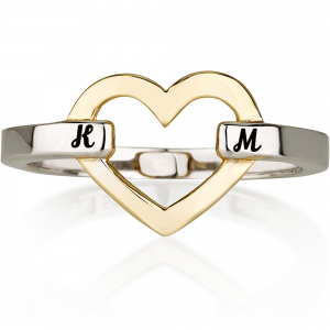 טבעת חריטה לב מיקס - זהב לבן 14K