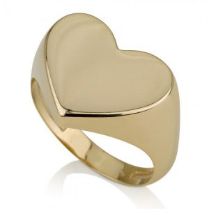 טבעת חריטה לב חותם - זהב צהוב 14K