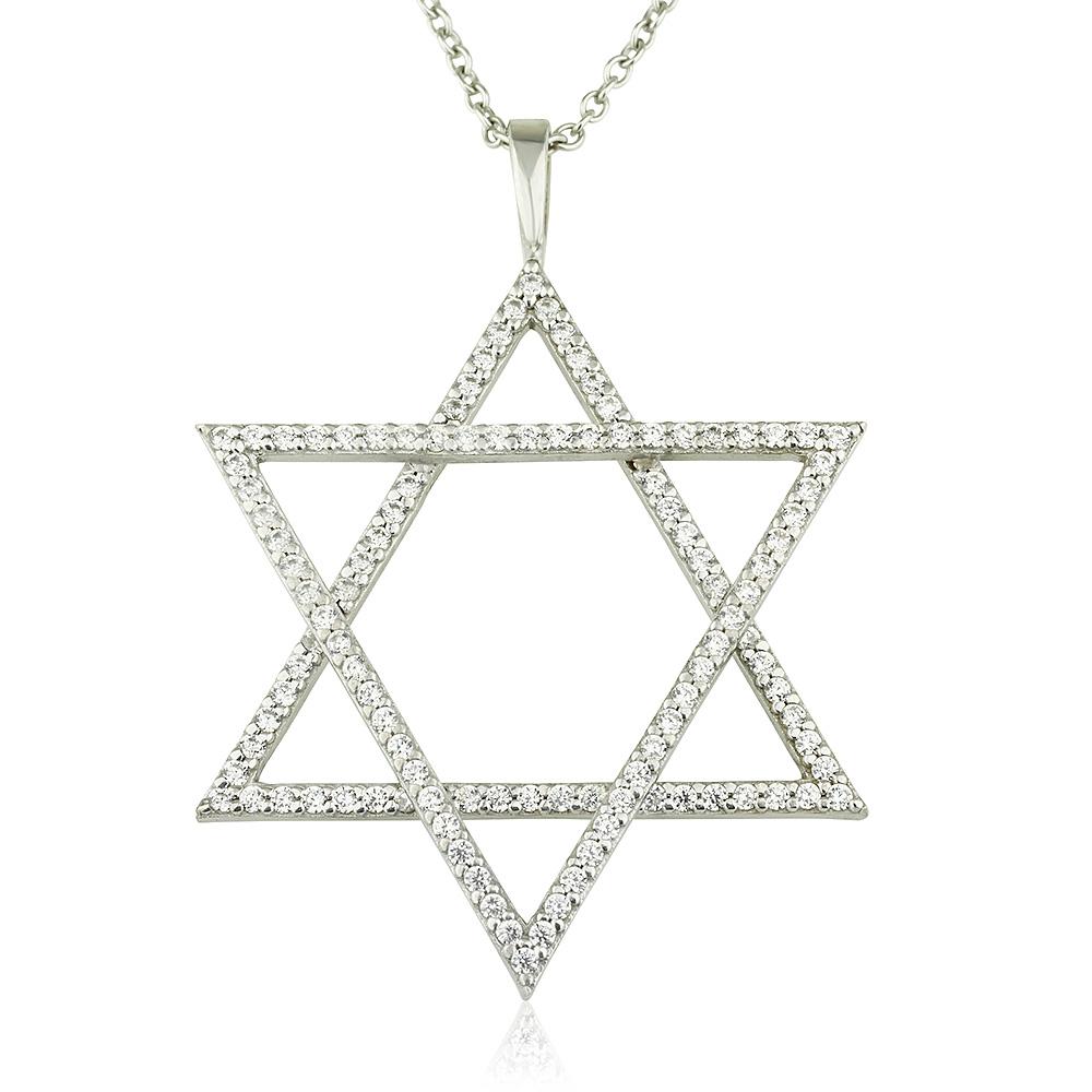 שרשרת אקסטרה מגן דוד - זהב לבן 14K
