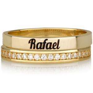 טבעת חריטה חישוק + טבעת קומפליט שיבוץ זירקונים - זהב 14K