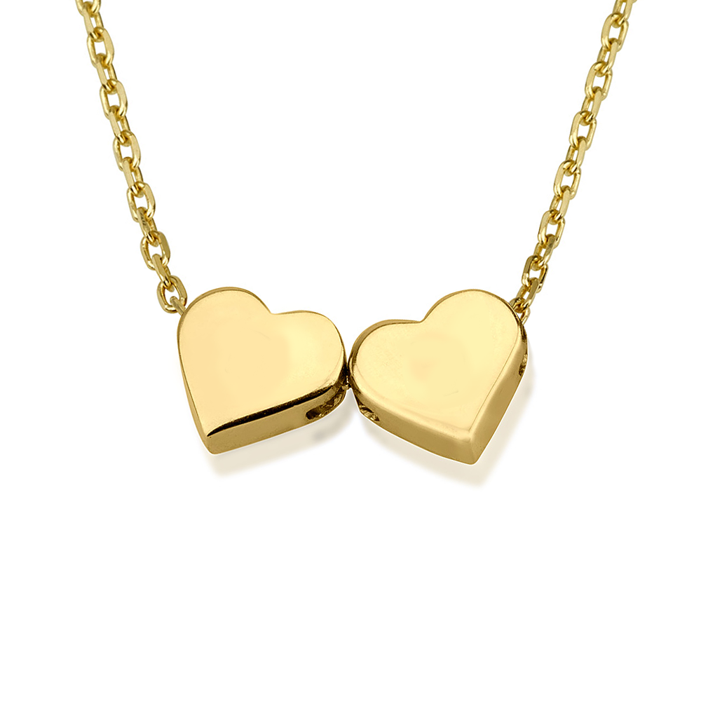 שרשרת חרוזי לבבות זוג תליונים - זהב 14K