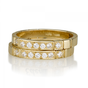 """טבעת יהלומים """"Seven"""" - זהב 14K"""