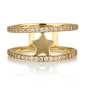 טבעת סטאר  - זהב צהוב 14K