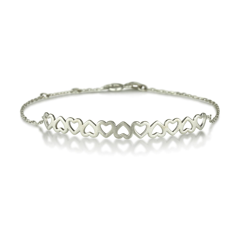 צמיד לבבות בייסיק – זהב לבן 14K - תכשיטי זהב מעוצבים - תכשיטי זהב עדינים - צמידי זהב