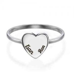 טבעת חריטה מדיום הארט - זהב 14K
