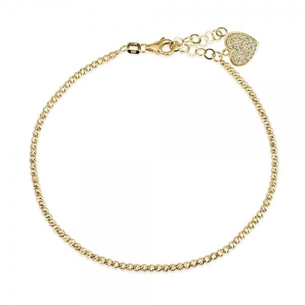צמיד כדורים חיתוכי לייזר עם תליון לב משובץ זירקונים - זהב14K - צמידי זהב מעוצבים - צמידי חריטה