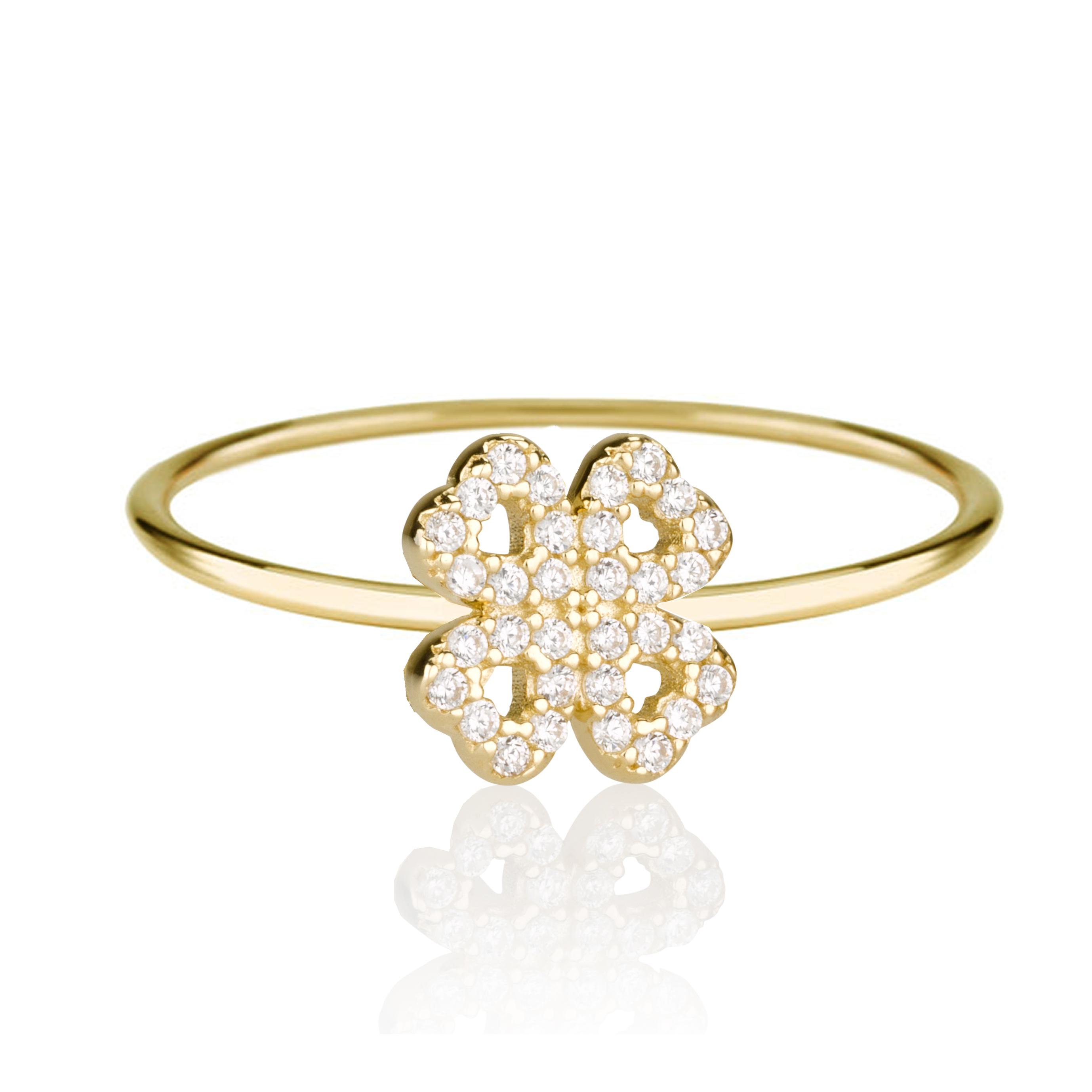 טבעת Flower - זהב צהוב 14K