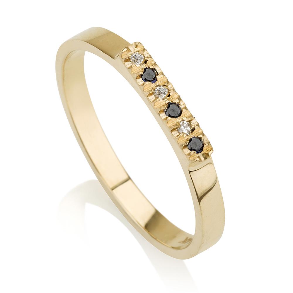 טבעת יהלומים Black & White- זהב 14K